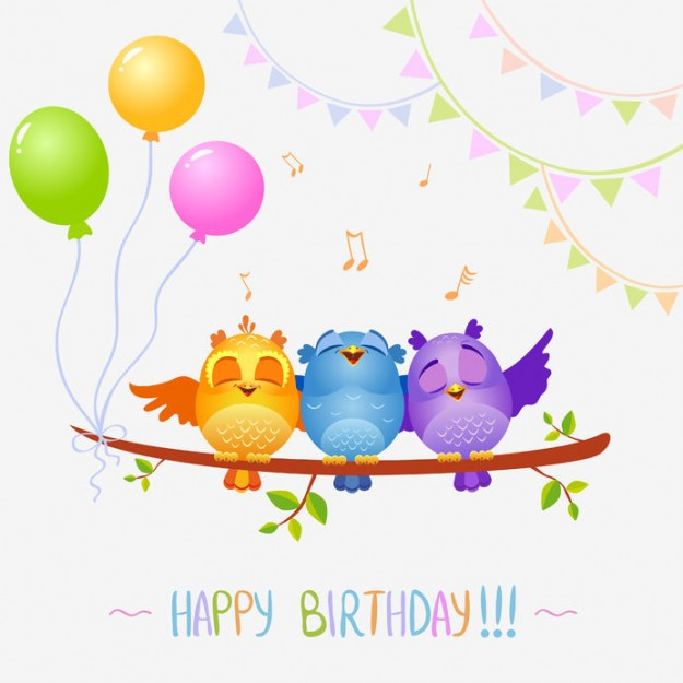 22719235 - illustration of funny characters birds sing happy birthday