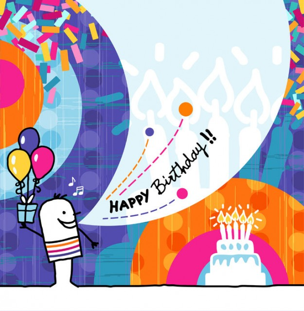 52763264 - hand drawn cartoon & greeting card - birthday